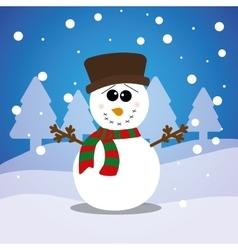 Merry christmas snowman card vector image