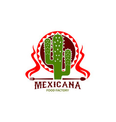 Mexican cuisine restaurant cactus icon vector