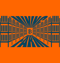 Mining farm extraction of cryptocurrency stand vector