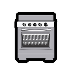 monochrome thick contour of stove with oven vector image