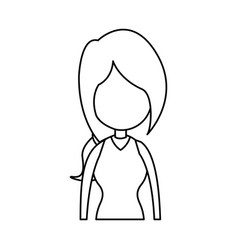 Outline girl avatar profile image vector