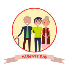Parents day poster with circle inscription vector