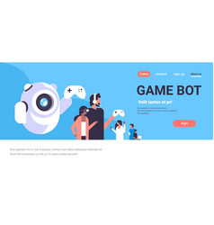 People in vr glasses playing game bot controller vector