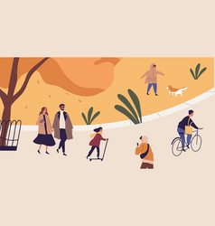 people spend time in autumn city park modern vector image