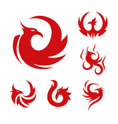 Phoenix bird stylized graphic red logo set six vector