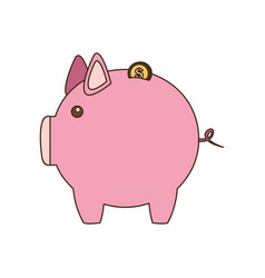 Pig save coins money vector