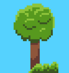 pixel tree and bushes from 8 bit graphics vector image