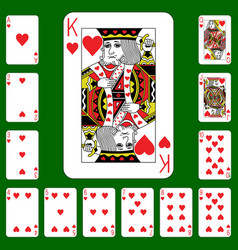 Playing cards suit hearts vector