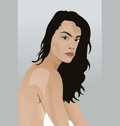Portrait a young naked brunette with a straight vector