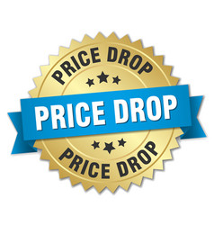 Price drop round isolated gold badge vector