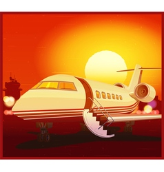 private aviation and sunset vector image
