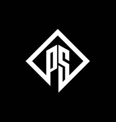 Ps logo monogram with square rotate style design vector