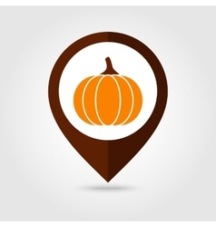 Pumpkin mapping pin icon Harvest Thanksgiving vector image