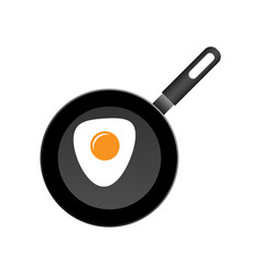realistic frying pan with egg icon in flat style vector image