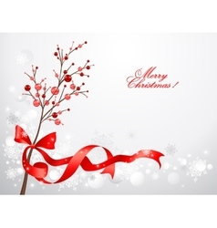 Red christmas berries on snow background vector