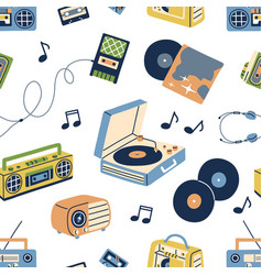 retro music pattern seamless background with old vector image