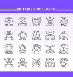 robot simple black line icons set vector image