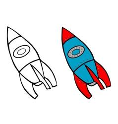 rocket coloring book vector image