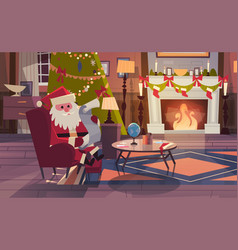 Santa claus read wish list sitting near fireplace vector