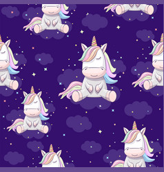 seamless pattern with unicorn vector image