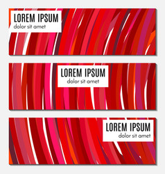 Set of red abstract header banners vector