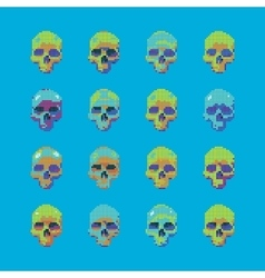 Set of stylized skull on a blue background vector