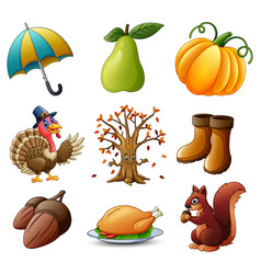 set of thanksgiving elements on white background vector image