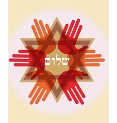Shalom peace in Hebrew Jew star symbol of vector image