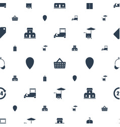 shop icons pattern seamless white background vector image