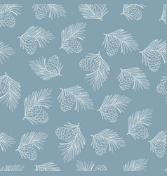 siberian pine cones and branches christmas vector image