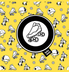 Sign roller derby and seamless pattern on the vector