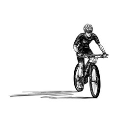 sketch mountain bike competition hand draw vector image