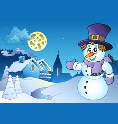 snowman near small village vector image