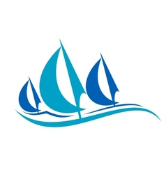 stylized blue sailing boats upon waves vector image