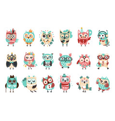Stylized design owls emoji stickers set cartoon vector
