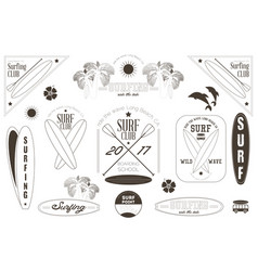 Surfing labels black and white set vector