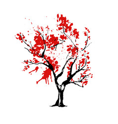 tree in japanese style watercolor vector image