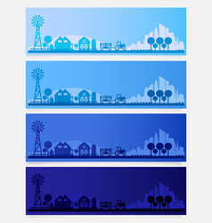 Trendy farm village or small town skyline colored vector