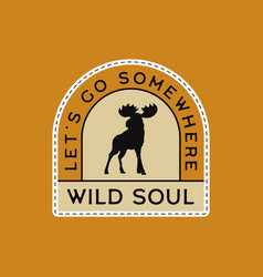 vintage camp patches logo wild life badge hand vector image