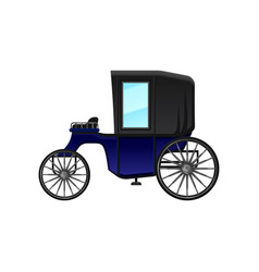 Vintage carriage with blue cab and big wheels vector