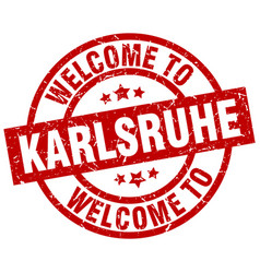 Welcome to karlsruhe red stamp vector