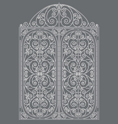 White metal gate vector