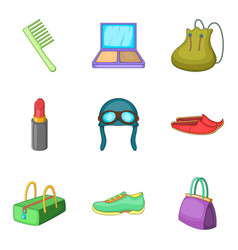 Woman activity icons set cartoon style vector