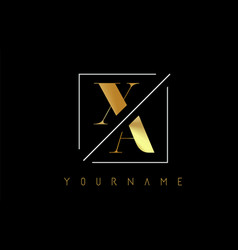 Xa golden letter logo with cutted and intersected vector