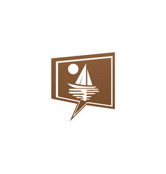 yacht sealing with sun and sea logo design boat vector image