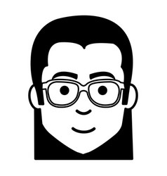 Young man casual avatar with glasses vector