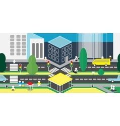 background of city with residents vector image