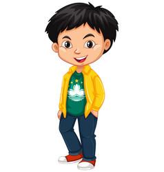 Boy wearing shirt with macau flag vector