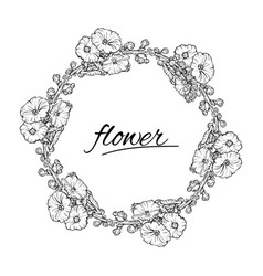 floral wreath ink sketch in black and vector image vector image