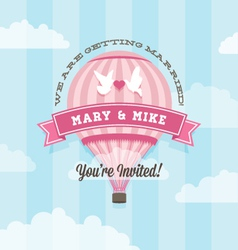 Wedding invitation with balloon vector image vector image